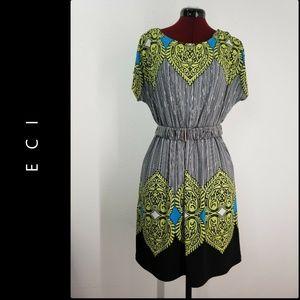 ECI Women's Belt Stretch Dress Size Medium Nwot